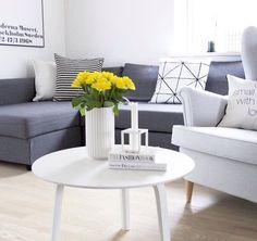 Scandinavian Living Room: Lyngby Vase, By Lassen Kubus Candle Holder, Ikea Friheten Sofa