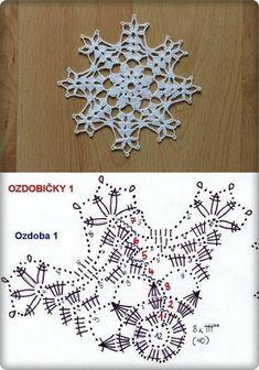 눈꽃으로 만든 크리스마스장식 도안첨부 : 네이버 블로그 Crochet Snowflake Pattern, Crochet Stars, Crochet Snowflakes, Crochet Flower Patterns, Crochet Mandala, Thread Crochet, Crochet Doilies, Crochet Flowers, Crochet Stitches