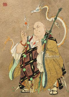 A Buddhist monk attended by a dragon.