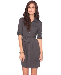 Forever 21: Button Up Belted Shirtdress $24.80