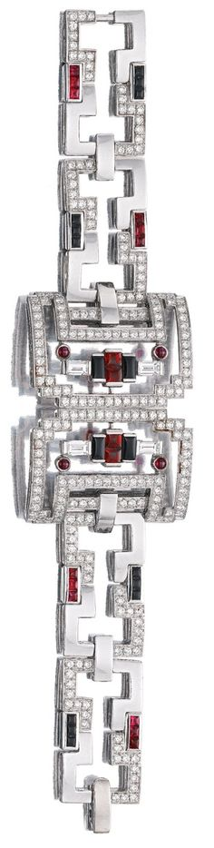 Best Diamond Bracelets  : RUBY ONYX LACQUER AND DIAMOND PARURE 'BAISER DU DRAGON' CARTIER