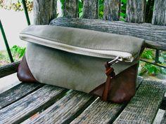 Heavyweight Cotton and Leather Clutch Purse by JoynerAvenue, $44.00