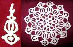 Wonderful DIY Paper Snowflakes With Pattern Paper Snowflake Template, Paper Snowflake Patterns, Paper Snowflakes, Snowflake Designs, Christmas Snowflakes, Kids Christmas, Christmas Crafts, Christmas Ornaments, Christmas Origami
