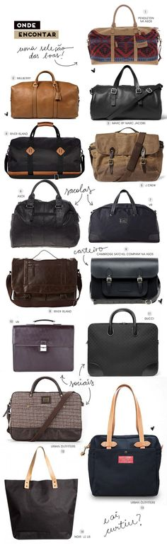 Selection of Handsome Men's Bags and Duffles. Men's Fall/Winter Fashion.