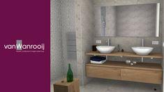 Dubbele wastafel Showroom, Bathroom Lighting, Vanity, Mirror, House, Furniture, Ideas, Home Decor, Bathroom Light Fittings