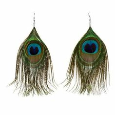 PEACOCK EARRINGS: One Pair Natural Feather Peacock Earrings [Kitchen]