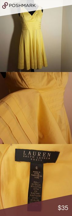 🔥FLASH SALE🔥Ralph Lauren Cotton Sleeveless Dress Perfect dress for summer. It's beautiful happy yellow color with its cool cotton fabric. Lovely detailing around the waist and skirt bottom. Flattering v neck and Sleeveless style. Size 6 from Ralph Lauren. Perfect condition. It has the slightest bit of stiffness in the fabric to create those perfect pleats and flattering shape. My mannequin really doesn't do it justice because it's too big for the dress to fit properly. Ralph Lauren Dresses