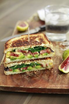 Optavia Discover 20 Amazing Fig Recipes - Yummy Mummy Kitchen Fresh fig avocado and spinach grilled cheese sandwich - this is our favorite grilled cheese ever. Its so delicious with the fresh figs! Healthy Sandwiches, Sandwich Recipes, Steak Sandwiches, Lunch Recipes, Smoothie Recipes, Gourmet Recipes, Vegan Recipes, Cooking Recipes, Recipes With Figs