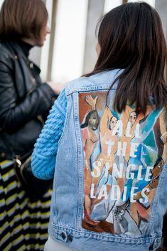 All th single ladies. Blue jean Picasso les demoiselles d'Avignon. Paris fashion week.