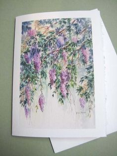 Roxanne  Wisteria  Note Card  5 x 7 Blank  Trailing by watercolorsNmore