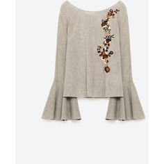 EMBROIDERED FRILLED SLEEVE BLOUSE - NEW IN-WOMAN | ZARA United States (190 ILS) ❤ liked on Polyvore featuring tops, blouses, ruffle sleeve blouse, white embroidered blouse, white embroidered top, frill sleeve top and embroidered top