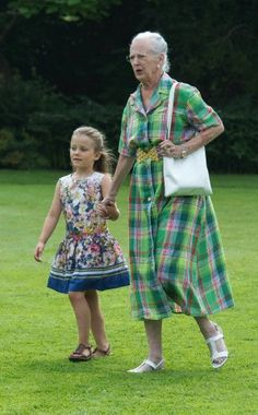 Danish HRH Princess Isabella with her grandmother HM Queen Margrethe II  at the annual photo session at Graasten Palace in Jutland on 26th of July, 2013