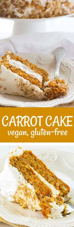 Carrot Cake recipe, vegan and gluten-free #easter #easterrecipes #vegan #glutenfreerecipes #carrotcake