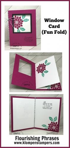 I usually share a TECHNIQUE video with you on Thursdays, but I had this WINDOW CARD I wanted to share–I wasn't quite sure if I should call it a TECHNIQUE or a FUN FOLD….really–what does it matter. I hope you enjoy the video and make some of the easy peasy Fun Fold Cards, Cards Diy, Pop Up Cards, Folded Cards, Cool Cards, How To Make Cards, Card Making Tutorials, Card Making Techniques, Card Making Tips