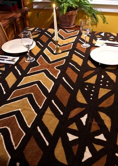 African Mud Cloth Table Cloth. Handmade Using An All Natural Dying Process  In Mali