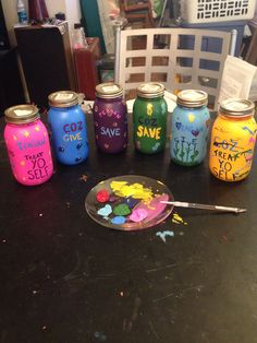 I made 3 piggy banks for Teagan and 3 for Colin. Any time get egg money they will split it into 3 separate jars, one to spend one to save and one to donate to others in need. Thought this would be a fun way to teach them about money.