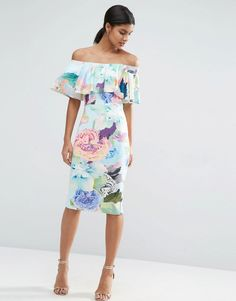 Image 1 of ASOS Candy Floral Double Ruffle Bandeau Midi Dress