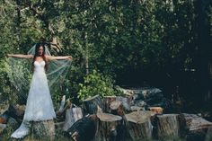 bride in wood stack