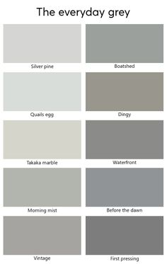Colour Chart Collections Dulux Colour Chart Grey, Paint Color Chart, Shades Of Gray Color, Grey Paint Colors, Simply Home, Bathroom Paint Colors, Green Nature, Closet Bedroom, Land Art