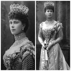 Queen Mary (Mary of Teck) wearing the Diamond Loop Tiara, c1902, made by Boucheron. Possibly broken up to create the Delhi Durbar Tiara.
