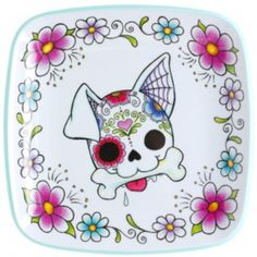 SUGAR SKULL DOG PLATE - Bring some Day of the Dead kitsch to your kitchen! This white melamine plate is trimmed in aqua blue & pictures a cutesy sugar skull dog in the center complete with day of the dead inspired designs & is surrounded by flowers. Sugar Skull Tattoos, Sugar Skull Art, Dog Tattoos, Sugar Skulls, Sugar Skull Painting, Dog Skull, Skull Design, Day Of The Dead, Rock Art