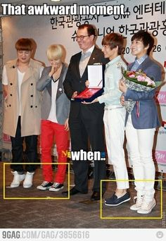 awkward...The Super Junior guys don't look that short until you see them next to normal sized guys.