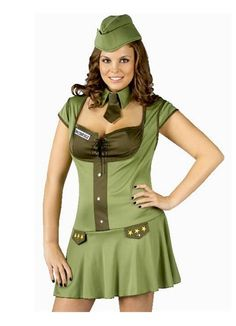 Sexy Plus Size Major Trouble Army Military Soldier Halloween Costume