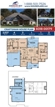 Get a load of this marvelous Craftsman home design! Plan 8318-00179 details 2,537 sq. ft., 4 bedrooms, 3.5 bathrooms, a kitchen island, an open floor plan, a bonus room, and a study. #craftsman #architecture #houseplans #housedesign #homedesign #homedesigns #architecturalplans #newconstruction #floorplans #dreamhome #dreamhouseplans #abhouseplans #besthouseplans #newhome #newhouse #homesweethome #buildingahome #buildahome #residentialplans #residentialhome Craftsman Style Homes, Craftsman House Plans, Best House Plans, Dream House Plans, Architectural Elements, New Construction, Building A House, New Homes, Floor Plans