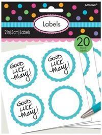 Şeker Büfesi kapları ve kavanozlar için Etiket, Boncuk Mavi Kişiselleştir