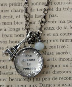 Dreaming of Paris . this wonderful necklace has an eiffel tower dangle with a hand glittered charm that reads Diy Jewelry, Jewelry Making, Fashion Jewelry, I Love Paris, Paris France, To My Daughter, At Least, Jewels, My Favorite Things