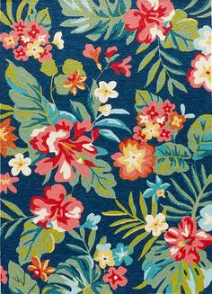 We are crazy about the bold tropical colors and island floral designs presented in this new Tropic Blue Okana Area rug.