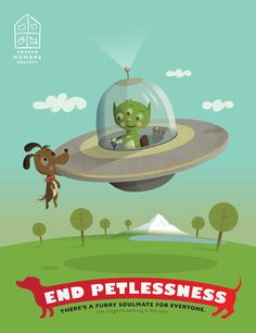 "GREAT DESIGN BRINGS VALUE! The optimistic campaign message, ""End Petlessness,"" features fun illustrations celebrating humans and their furry soul mates. Donations and Adoptions at OHS have never been higher! Created by Leopold Ketel agency (Bravo!!)"