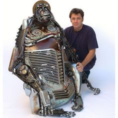 Australian artist James Corbett, creates these sculptures using old car parts salvaged from scrap yards. www.travers.com