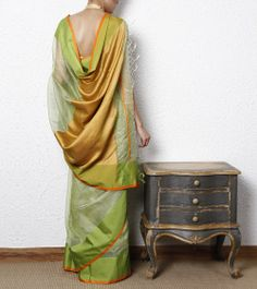 Green & Orange Cotton Silk Maheshwari Saree