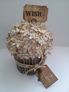 Book paper cupcake. Love making these!
