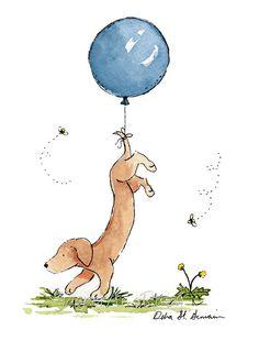 Puppy Nursery Art, Dachshund with Blue Balloon, Dog Nursery Print, Children's Wall Art, Kids Room Decor, Kids Wall Art, Dachshund Gift, Baby