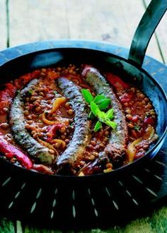 Try these ostrich sausages with tomato and lentils on the braai instead of boerewors. It's a fun twist on a South African braai-favourite. Camping Dishes, Camping Meals, South African Recipes, Ethnic Recipes, Braai Recipes, Fish And Meat, Lentil Curry, Sausage Recipes, Sausages