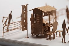 1/100 SCALE ARCHITECTURAL MODEL ACCESSORIES SERIES No. 20 Food Stall. Detach and assemble! #DIY