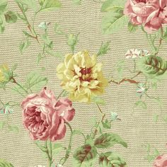 Pink Yellow Cottage Roses Floral Wallpaper