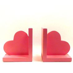 wooden heart bookends  //  pink home accents, hearts, rustic home decor, back to school, kids decor, accessories, fall decor, book ends. $26.00, via Etsy.