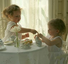 Little girls having a tea party! This is my idea of fun. Girls Tea Party, Tea Parties, Little Ones, Little Girls, My Cup Of Tea, High Tea, Afternoon Tea, Afternoon Delight, Cute Kids