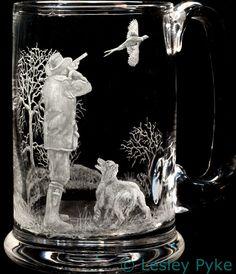 Pheasant shoot engraved on crystal tankard by Leslie Pyke
