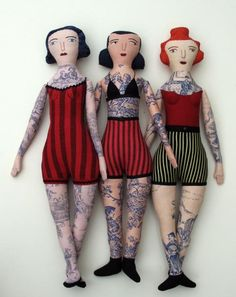 Toile De Jouy Dolls by Mimi Kirchner Toile dolls- the pattern looks like tattoos. 'Toile' makes great tattoo dolls for presents for rock n roll little girls. cant find these anywhere help! Brilliant to use toile to create tattooed dolls! Softies, Plushies, Fabric Dolls, Paper Dolls, Rag Dolls, Textiles, Toy Art, Paperclay, Tattoo Blog