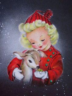 Vintage Christmas Card UNUSED Pretty Girl Red Dress Feeds & Hugs Fawn Deer