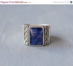Vintage Sterling Silver Lapis Lazuli Wide Band Ring by MintAndMade
