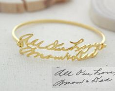 ♥ F L A S H ∙ S A L E ∙ 30% OFF ∙ L I M I T E D ∙ T I M E ∙ O N L Y ♥  ♥ Handwriting Bracelet ♥ The most unique jewelry you can find, perfect gift for you and your loved one. S I G N A T U R E ∙ B R A C E L E T  • Material: High Quality Solid 925 Sterling Silver • Finish: Sterling Silver ∙ 18K Gold ∙ Rose Gold • All our work is custom made by hand with Love and Care in our workshop ♥   H O W ∙ T O ∙ O R D E R • Simply use the -ASK A QUESTION- or -CONTACT SHOP OWNER- button to send us a…