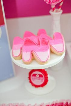 Ombre birthday letter cookies at an American Girl Doll Birthday Party via Kara's Party Ideas   KarasPartyIdeas.com #Pink #Doll #PartyIdeas #Supplies #ombre #cookies #americangirldoll