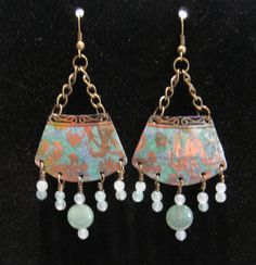 Recycled Vintage Tin Earrings with Jade and by WhippoorwillStudio