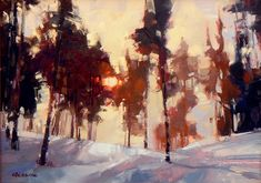 By David Mensing Painting Snow, Light Painting, Painting & Drawing, Landscape Artwork, Abstract Landscape, Plein Air, Tree Art, Painting Inspiration, Lovers Art