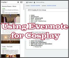Last week on Cosplay 101, we talked about planning and budgeting! Let me introduce you to my friend, Evernote, where I do the majority of my cosplay planning. You've probably heard of this service before! I use it for almost everything, but it's especially useful for cosplay. Evernote Basics Evernote is a cloud-based, digital notebook. You can include formatting and images, share notebooks with friends, and,